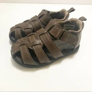 Carters Brown Faux Leather Fishermans Sandals Baby